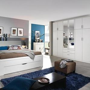 Schlafzimmer 4-tlg. in alpinweiß mit Absetzungen in Lederoptik light grey, Drehtürenschrank B: ca. 271 cm, Bett B: ca. 285 cm
