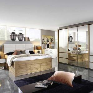Schlafzimmer 4-tlg. in Eiche Wotan-Dekor und Alpinweiß, Schwebtürenschrank B: ca. 360 cm, Bettanlage B: ca. 303 cm