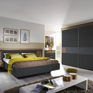 Schlafzimmer 4-tlg. in grau-metallic mit Absetzungen in Eiche Riviera Nachbildung, Schwebetürenschrank B: ca. 261 cm, Bett B: ca. 279 cm
