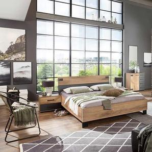 Schlafzimmer 4-tlg. in Plankeneiche-Nachbildung, Abs. in graphit, bestehend aus Kleiderschrank B: 270 cm, Bett 180x200 cm, 2 Nachtschränken B: 52 cm