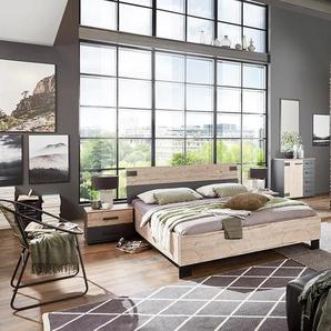 Schlafzimmer 4-tlg. in Silber Eiche-Nachbildung, Abs. in graphit, bestehend aus Kleiderschrank B: 225 cm, Bett 180x200 cm, 2 Nachtschränken B: 52 cm