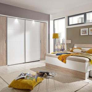 Schlafzimmer 4-tlg. in weiß, Abs. Eiche sägerau-NB, bestehend aus Dreh-/Schwebetürenschrank B: 270 cm, Bett 180x200 cm, 2 Nachtschränken B: 52 cm