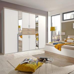Schlafzimmer 4-tlg. in weiß, Abs. Eiche sägerau-NB, bestehend aus Drehtürenschrank B: 270 cm, Bett 180x200 cm, 2 Nachtschränken B: 52 cm