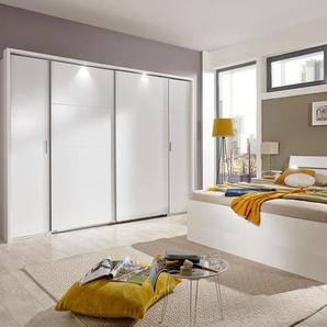 Schlafzimmer 4-tlg. in weiß, bestehend aus Dreh-/Schwebetürenschrank B: 270 cm, Bett mit Schubkästen 180x200 cm, 2 Nachtschränken B: 52 cm