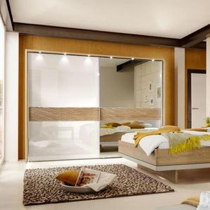 Schlafzimmer 4028 in Eiche natur-Nachbildung/champagner, Schrankbreite 250 cm, Liegefläche 180 x 200 cm