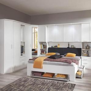 Schlafzimmer 5-tlg. weiß, Abschlussschrank, Drehtürenschrank, Eckschrank, Bettbrücke, Bett