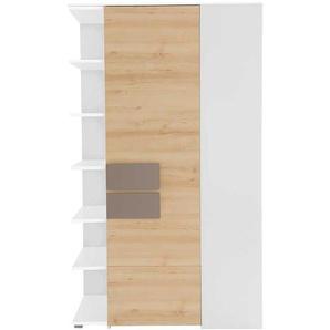 Schlafzimmer Eckschrank in Buche Taupe mit Regalfächern