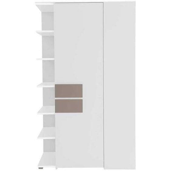 Schlafzimmer Eckschrank in Weiß Taupe mit Regal