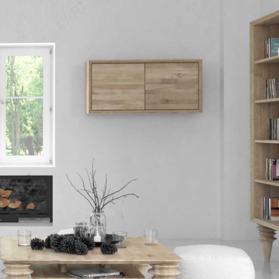 Schlafzimmer Hängeschrank aus Wildeiche Massivholz weiß geölt