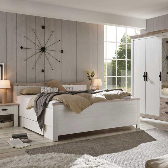 Schlafzimmer in Pinie weiß-Dekor/Oslo-Pinie-Dekor, bestehend aus Bett, 2 Nachtschränke und Kleiderschrank