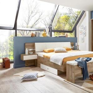 Schlafzimmer in Plankeneiche-Nb. mit Abs. in alpinweiß, Dreh-/Schwebetürenschrank B:270 cm, Bettanlage Liegefläche ca. 180x200 cm
