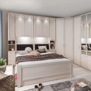 Schlafzimmer in Polar-Lärche-Nachbildung, Bettbrücke, Komfortbett mit Liegefläche ca. 180x200 cm, Eckschrank und Drehtürenkleiderschrank