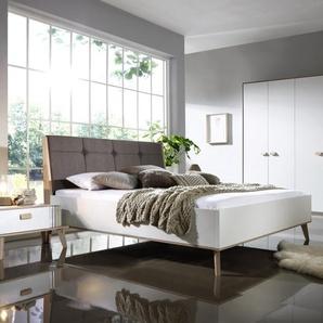 Schlafzimmer Jütland in weiß matt/Jackson Hickory-Optik