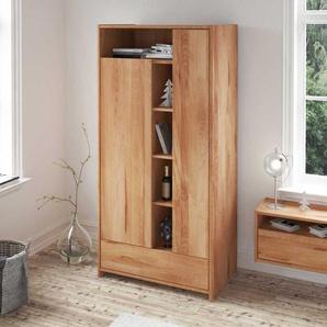 Schlafzimmer Kleiderschrank aus Kernbuche Massivholz mit offenen F�chern