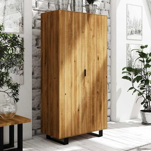 Schlafzimmer Kleiderschrank aus Wildeiche Massivholz Stahl