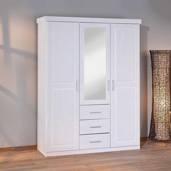 Schlafzimmer Kleiderschrank in Weiß Kiefer massiv einer Spiegeltür