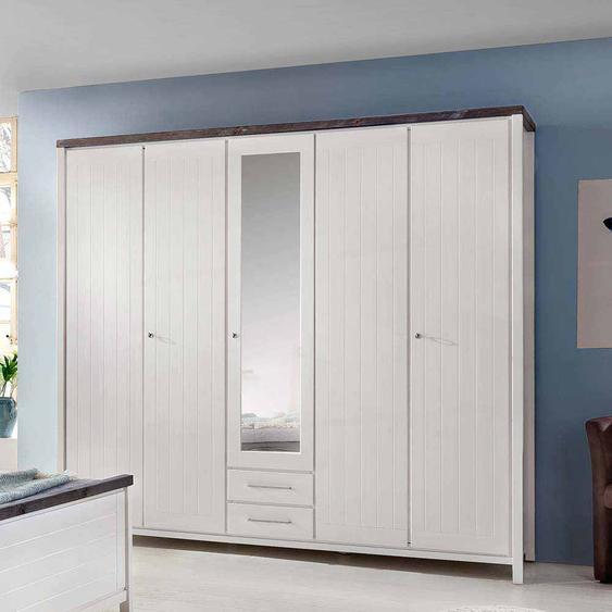 Schlafzimmer Kleiderschrank in Weiß lasiert Braun Kiefer Massivholz
