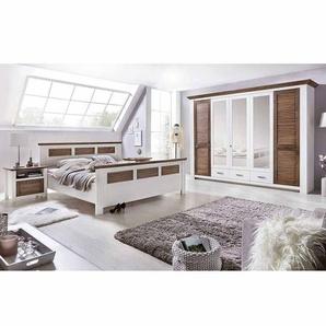 Schlafzimmer Komplettset in Weiß Kiefer Landhaus (vierteilig)