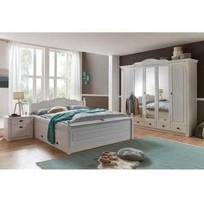 Schlafzimmer Komplettset mit Doppelbett Weiß Kiefer massiv (vierteilig)