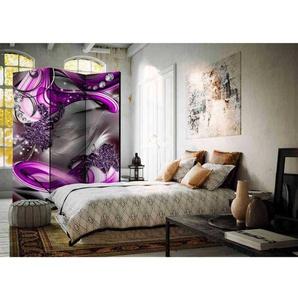 Schlafzimmer Paravent in Grau und Violett Diamanten und Bl�ten
