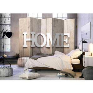 Schlafzimmer Paravent mit Home Aufschrift auf Holzwand Optik 225 cm breit