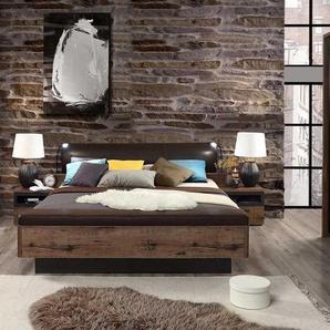 Schlafzimmer Schlammeiche Dekor, Schwebetürenschrank B: 269,9 cm, Bettanlage mit Polsterkopfteil, 2 Nachtkommoden, Liegefläche 180 x 200 cm
