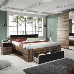 Schlafzimmer-Set Beta, (4 St.) B/H: 180 cm x 200 schwarz Komplett Schlafzimmer Betten