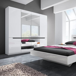 Schlafzimmer-Set Hektor, (4 St.) B/H: 180 cm x 200 weiß Komplett Schlafzimmer Betten