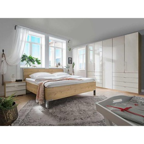 Schlafzimmer Set in Beige und Eiche Bianco glasbeschichtet (vierteilig)