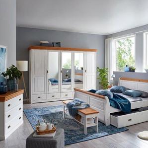 Schlafzimmer-Set, Kiefer Weiß, Holz