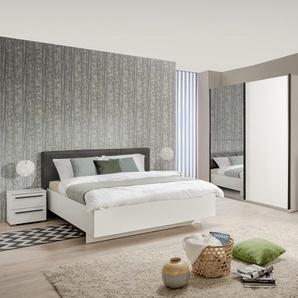 Schlafzimmer-Set Ksanti, (4 St.) B/H: 160 cm x 200 weiß Komplett Schlafzimmer Schränke