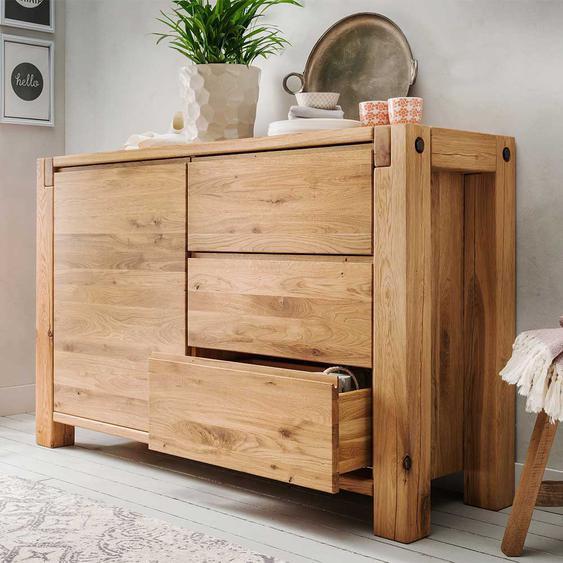 Schlafzimmer Sideboard aus Wildeiche Massivholz Griffmulden