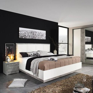 Schlafzimmerkombination 4-tlg. in alpinweiß mit Abs. in stone grey, Schwebetürenschrank B: ca. 271 cm, Bett 180 x 200 cm, Nachttische B: ca. 47 cm