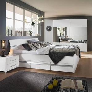 Schlafzimmerkombination in Alpinweiß Kompaktbett (180 x 200 cm), 1 Paar Rollnachttische und Schwebetürenschrank