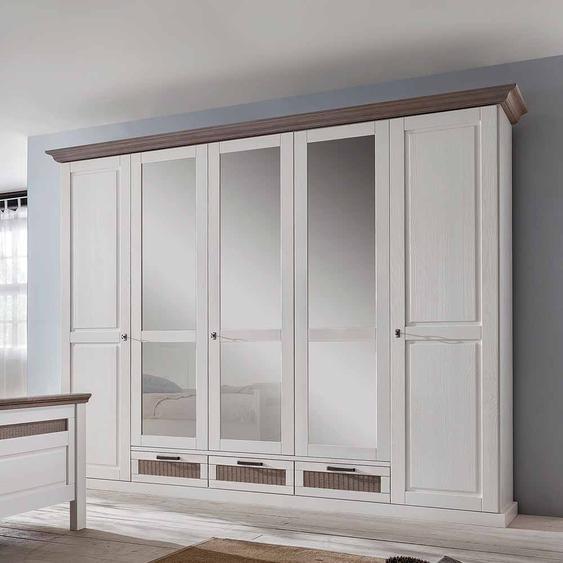 Schlafzimmerschrank im Landhausstil Weiß abschließbar