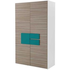 Schlafzimmerschrank in Holz Petrol modern