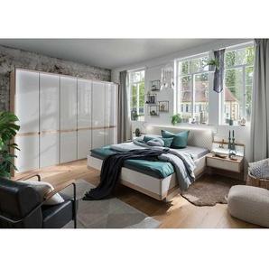 Schlafzimmerset in Beige und Eiche Bianco LED Beleuchtung (vierteilig)
