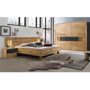 Schlafzimmerset in Eiche Bianco und Anthrazit LED Beleuchtung (vierteilig)