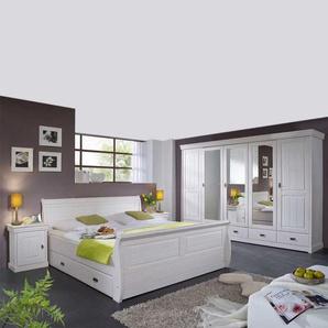 Schlafzimmerset in Weiß Kiefer Massivholz (vierteilig)