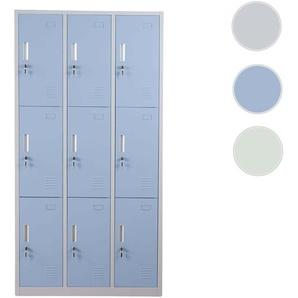 Schlie�fach Boston T829, Schlie�fachschrank Wertfachschrank Spind, Metall 9 F�cher ~ blau