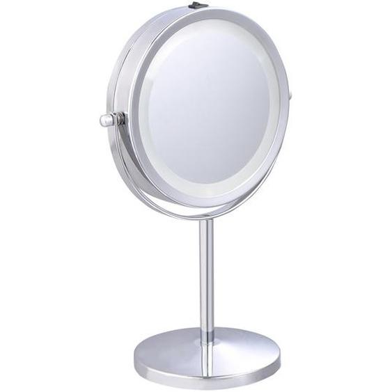 Schminkspiegel  360° Schwenkbar Kosmetikspiegel mit 5 Fach Vergrößerungsspiegel mit LED Beleuchtung