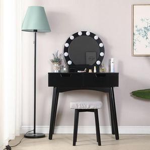 Schminktisch mit LED-Beleuchtung, Runder Spiegel, 2 Schublade und Fächern | schwarz | modern | MDF Holz | Frisiertisch Kosmetiktisch Kommode 131x80x40cm - WYCTIN
