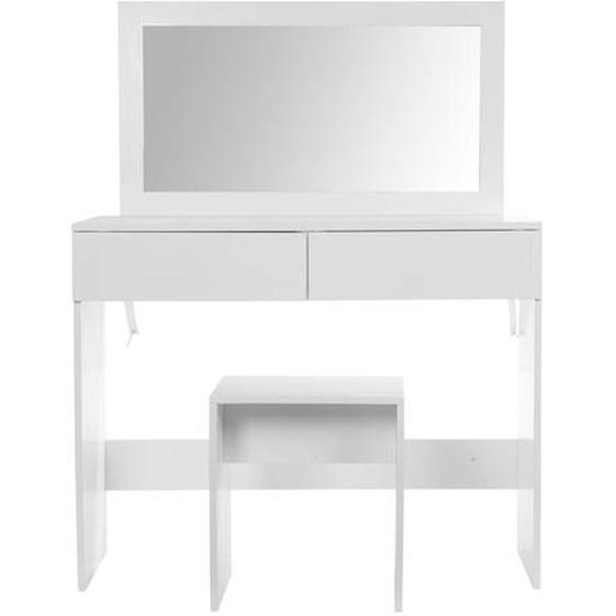 Schminktisch, Weiß / Spiegel, Kunststoff