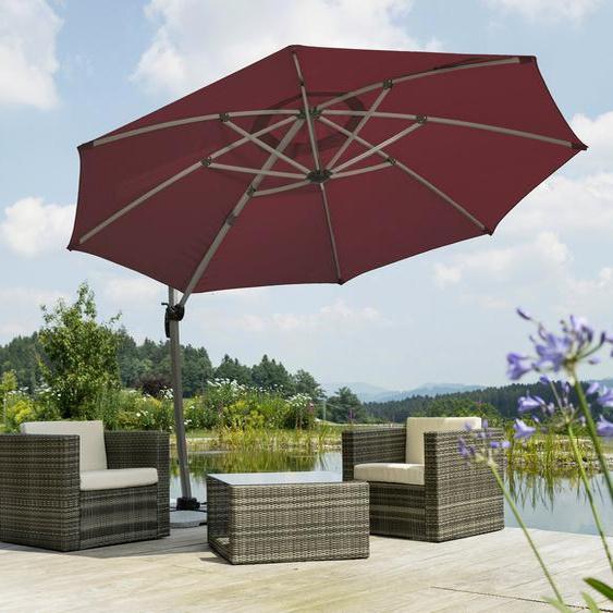 Schneider Schirme Ampelschirm »Rhodos Rondo«, LxB: 350x390 cm, Inkl. Schutzhülle mit Schirmständer, ohne Wegeplatten