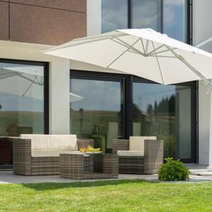 Schneider Schirme Ampelschirm »Rhodos Twist Bianco«, LxB: 300x300 cm, mit Schutzhülle und Schirmständer, ohne Wegeplatten