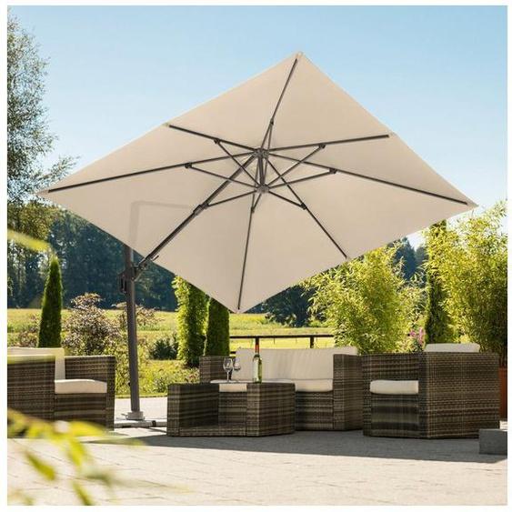 Schneider Schirme Ampelschirm »Rhodos Twist«, LxB: 300x300 cm, natur, quadratisch, ohne Wegeplatten