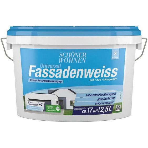SCHÖNER WOHNEN-Kollektion Fassadenfarbe »Universal-Fassadenweiss«, hoch wasserdampfdurchlässig und wetterbeständig, 2,5 l