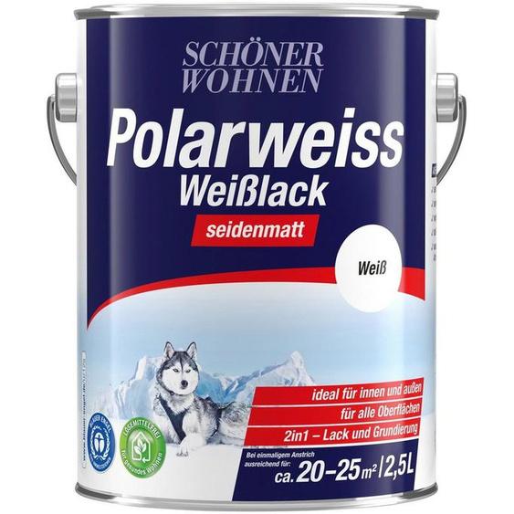 SCHÖNER WOHNEN-Kollektion Weißlack »Polarweiss«, seidenmatt, 2500 ml, weiß