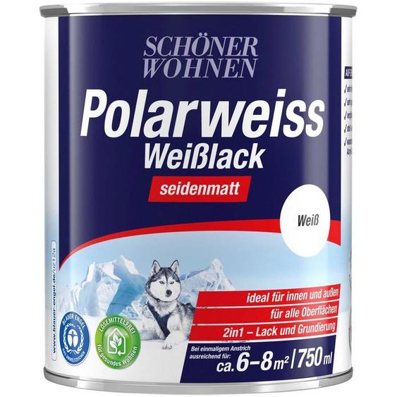 SCHÖNER WOHNEN FARBE Lack »Polarweiss Weisslack«, seidenmatt, 750 ml, weiß