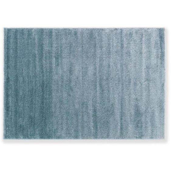 Schöner Wohnen Hochflorteppich 80/150 cm gewebt Türkis , Textil , Uni , 80 cm